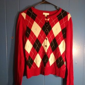 🍁- Red and black button down sweater